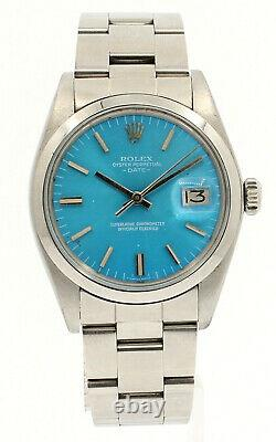 Mens Vintage ROLEX Oyster Perpetual Date 34mm Blue Color Dial DIAMOND Watch