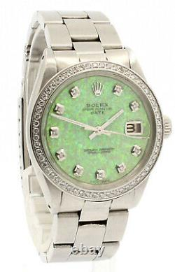 Mens Vintage ROLEX Oyster Perpetual Date 34mm GREEN OPAL Dial Diamond Stainless