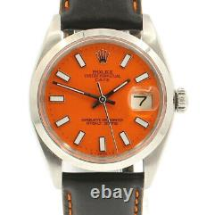 Mens Vintage ROLEX Oyster Perpetual Date 34mm ORANGE Dial Stainless Steel Watch