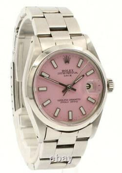 Mens Vintage ROLEX Oyster Perpetual Date 34mm PINK Dial Stainless Steel Watch