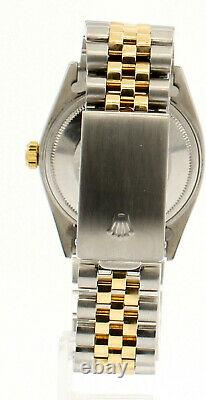 Mens Vintage ROLEX Oyster Perpetual Datejust 36mm Blue MOP DIAMOND Dial Watch