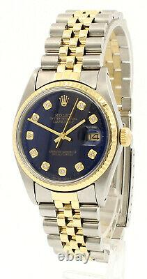 Mens Vintage ROLEX Oyster Perpetual Datejust 36mm Gold DIAMOND Blue Dial Watch