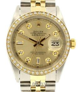 Mens Vintage ROLEX Oyster Perpetual Datejust 36mm Gold Dial DIAMOND Bezel Watch