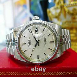 Mens Vintage ROLEX Oyster Perpetual Datejust 36mm Linen Dial Jubilee Watch