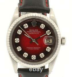 Mens Vintage ROLEX Oyster Perpetual Datejust 36mm Red Vignette Diamond Watch