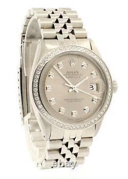 Mens Vintage ROLEX Oyster Perpetual Datejust 36mm Silver Dial DIAMOND Watch