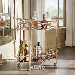Metal Mobile Bar Cart or Tea Trolley Black Glass Top with Rose and Gold Finish
