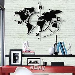 Metal World Map Wall Art Compass World Map Metal Wall Decor Home Decoration