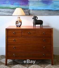 Mid 20th C Heal's London Teak Brass Bed Side Cabinet Table Chest of Drawers
