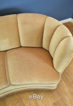 Mid Century Art Deco Danish Beige Velour 3 Seat'Banana' Sofa Settee 1930s 40s
