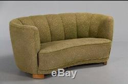 Mid Century Art Deco Danish Green 2 Seat'Banana' Sofa Settee 1930s 40s