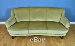 Mid Century Art Deco Danish Mint Green Velour 3 Seat Banana Sofa Settee 1940s