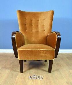 Mid Century Art Deco Vintage Danish Gold Velour Club Lounge Arm Chair 1930s 40s