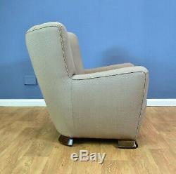 Mid Century Art Deco Vintage Danish Pale Violet Cotton Club Lounge Arm Chair 40s
