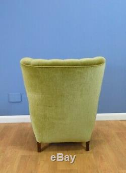 Mid Century Retro Danish Pale Green Velvet Art Deco Lounge Armchair 1940s