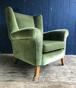 Mid Century WingBack Armchair Green Velvet Type Upholstery Oak Legs DELIVERY