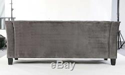 Modern Chesterfield Sofa Settee 3 Seater Grey Velvet Fabric Couch. 3-5 DAY DEL