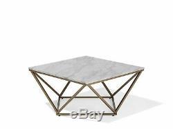 Modern Coffee Table Geometric Gold Metal Cage Frame Marble Finish Top Malibu