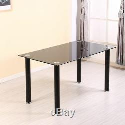 Modern Dining Table and 4 Chairs Black Kitchen Dining Room Furniture Set