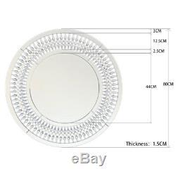 Modern Unique 3D Sunburst All Glass Venetian Round Wall Mirror Lounge Bathroom