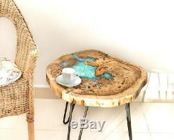 Natural Wood Live edge epoxy coffee table