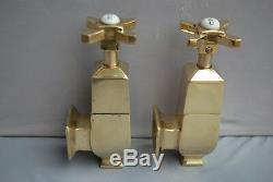 Old Brass Art Deco Globe Bath Taps Fully Refurbished Stunning Brass Taps
