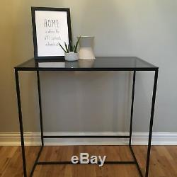 Oliver Bonas Black Metal Console Dressing Table Desk Smoked Glass Art Deco Style