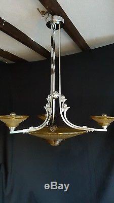 Original Muller Freres petitot ezan style art deco light fitting chandelier