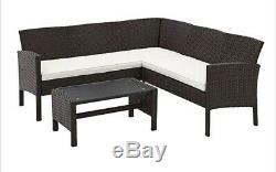 Outdoor Brown Rattan Garden Furniture 5 Seater Corner Sofa & Table Patio Set