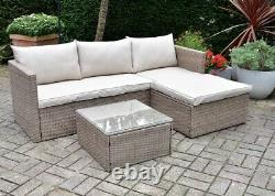 Outdoor & Indoor Reversible Rattan Effect Patio Garden Corner Sofa Set & Table
