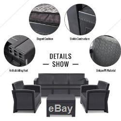 Outdoor Rattan Garden Furniture 4-5 Seater Corner Sofa Patio Set with cushions