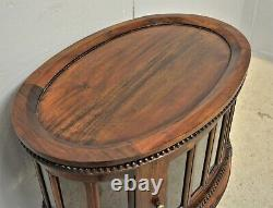 Oval Drinks Cabinet Glass with tray Mahogany Victorian Repro Delivery Available
