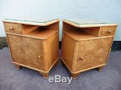 PAIR OF ART DECO BEDSIDE CABINETS, INTERESTING SHAPE, 1 DOOR 1 DRAWER, C1920/40s