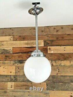 Pair Of Art Deco Chrome & Opaline Glass Light Sphere Shades Ceiling Rose & Pole