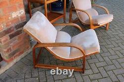 Pair Of Art Deco Heals Bentwood Recliner Chairs With Pull Out Foot Stool Velour