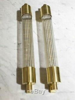 Pair Of Art Deco Skycraper Style Wall Lights Sconces Lamp. Brass And Glass