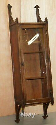 Pair Of Rare Circa 1800 Gothic Revival Wall Hanging Cabinets Bookcases Cupboards