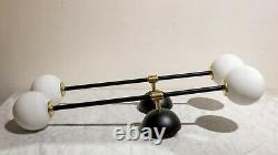 Pair Of Wall Lights Sconces Lamps. Brass Mid-century Modern Style