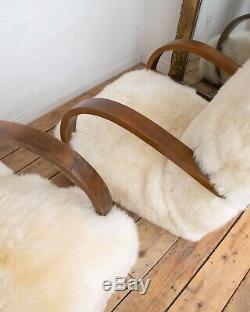 Pair Vintage Design Art Deco Ivory White Sheepskin Bentwood Armchair Chair