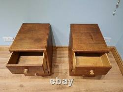 Pair of 2 Vintage Oak Bedside Tables Drawers Cabinets Art Deco Antique Style