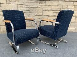 Pair of Art Deco Lloyd KEM Weber Style Chrome Springer Arm Chairs