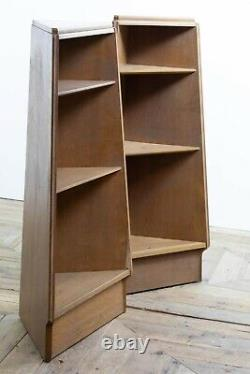 Pair of Mid Century Triangular Heals Style Limed Oak Bookcases Shelves