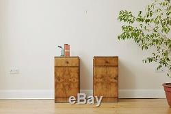 Pair of Walnut Art Deco Bedside Cabinets Side tables Mid Century Retro Vintage