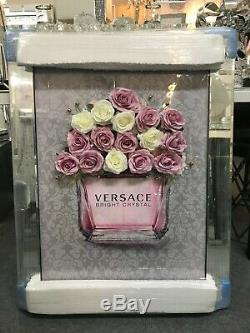 Perfume Bottle Picture with 3D faux flowers and classic grey background