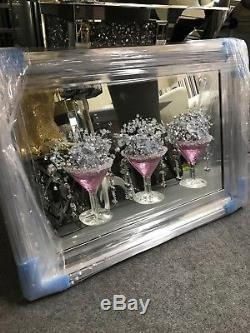 Pink Cocktail glass 3D glitter art mirrored picture, 3 cocktail glass picture