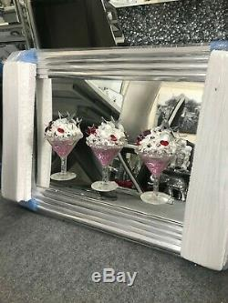 Pink Ice Cream Sundae Martini glass 3D Mirrored Picture in silver wooden frame