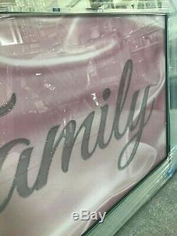 Pink family sparkle glitz mirrored picture, glitter picture mirror frame