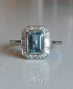 Platinum Art Deco Style Aquamarine & Diamond Ring 1ct Aqua + 0.20ct Diamond