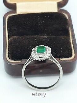 Platinum Emerald & Diamond Ring ART DECO style Size O