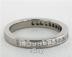 Platinum carre channel set diamond wedding anniversary band ring Art Deco style